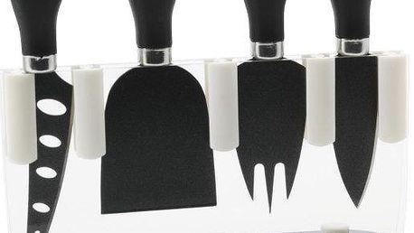 Maxwell & Williams Sada 4 nožů na sýr ve stojanu, černé