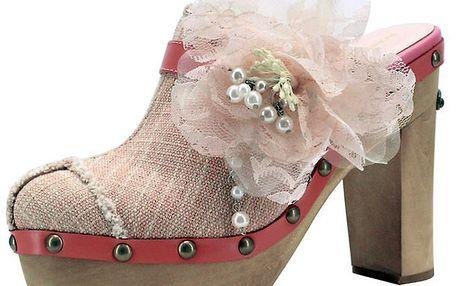 Dámské látkové dřeváky s růžovou květinou Roberto Botella