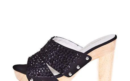 Dámské pantofle s černými kamínky Roberto Botella