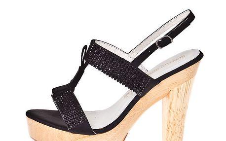 Dámské černé pantofle s kamínky Roberto Botella