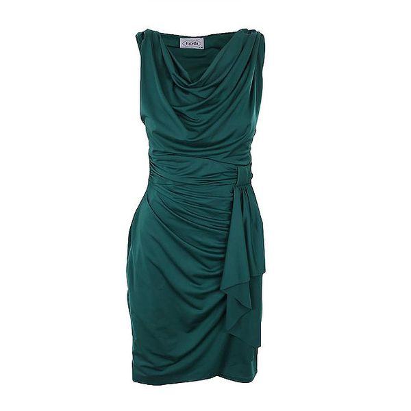 Dámské lahvově zelené šaty Estella