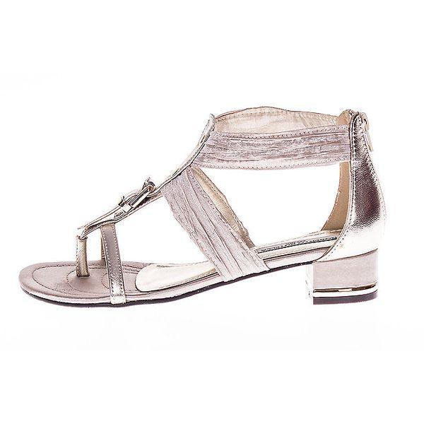Dámské metalické sandálky s malým podpatkem Roberto Botella