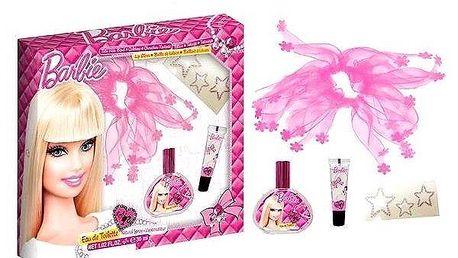 Barbie dárková sada - toaletní voda 30 ml, Závoj na vlasy,tetování,lesk na rty