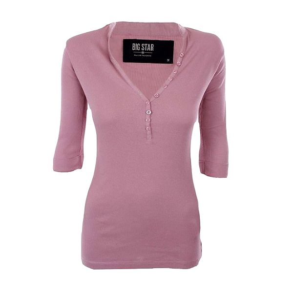 Dámské růžové žebrované tričko Big Star