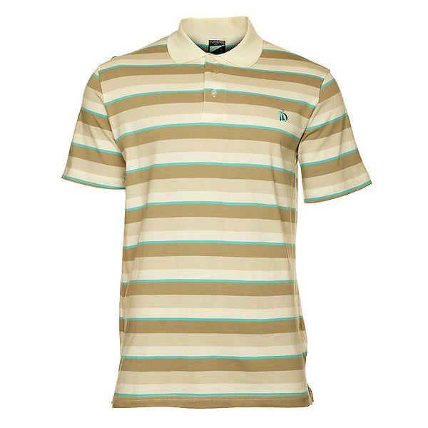 Pánské béžové pruhované polo tričko s krátkým rukávem Fundango