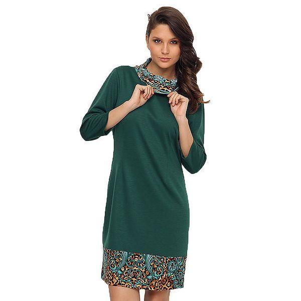 Dámské zelené šaty s vzorovaným lemem TopShop