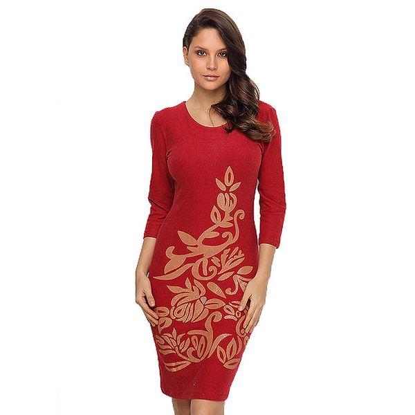 Dámské červené šaty s lesklým potiskem TopShop