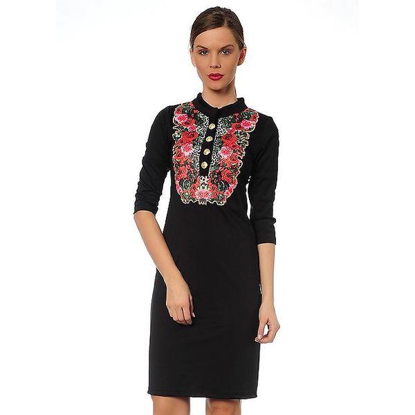 Dámské černé šaty s květovanou ozdobou TopShop
