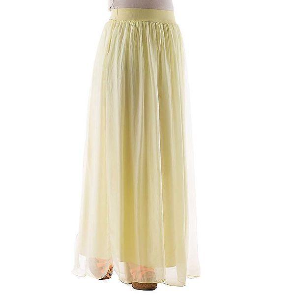 Dámská dlouhá žlutá hedvábná sukně Keysha