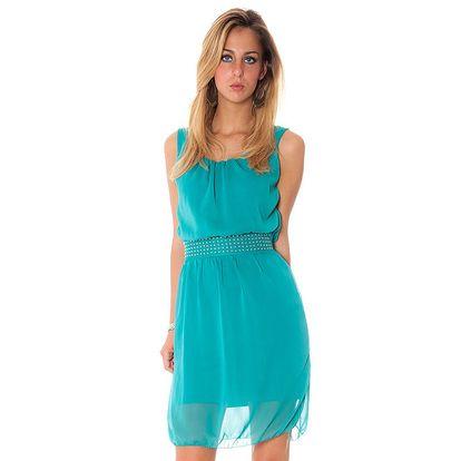 Dámské zelené šaty s ozdobným pasem Bella Rosa