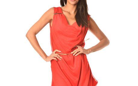 Dámské červené šaty s ozdobnými zipy a pásek Boheme a Paris