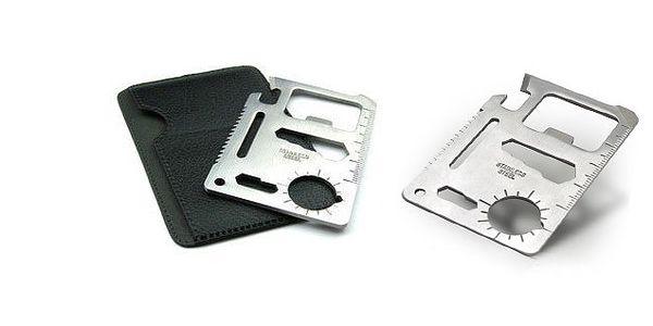 Multifunkční karta z nerezové oceli určena pro nouzové použití, jako mnohoúčelový nástroj s nesčetným množstvím využití!