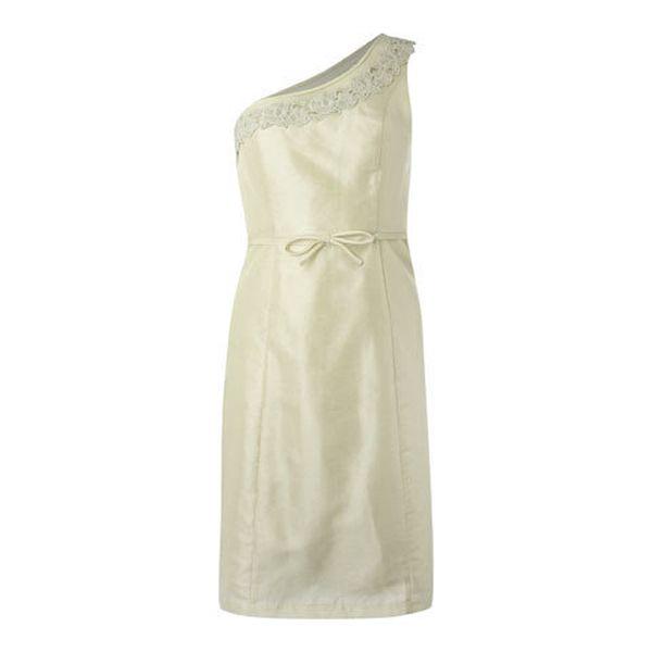 Dámské krémové šaty Fever s jedním ramínkem a krajkou