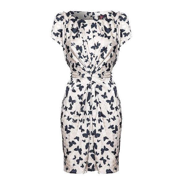 Dámské světle béžové šaty s motýlky Yumi