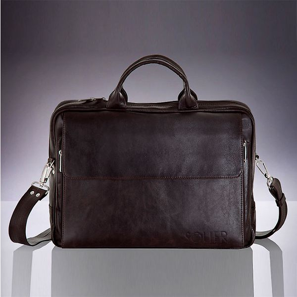 Pánská hnědá kožená taška Solier