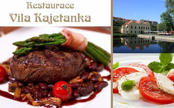 Lahůdkové menu v zámecké restauraci Vila Kajetánka