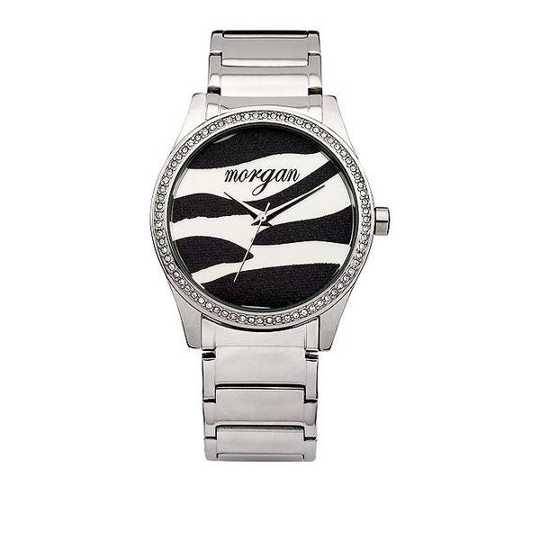 Dámské stříbrné hodinky se zebřím vzorem Morgan De Toi