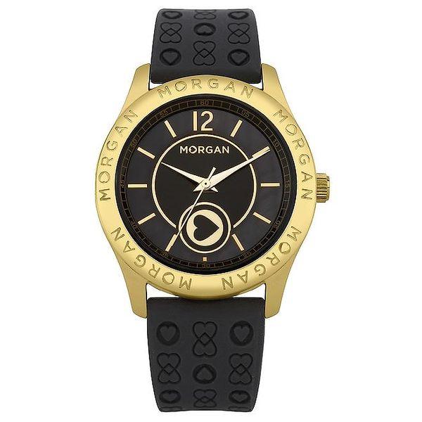 Dámské černé hodinky s pouzdrem ve zlaté barvě Morgan de Toi