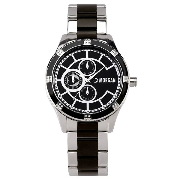 Dámské černo-stříbrné hodinky s krystaly Morgan de Toi