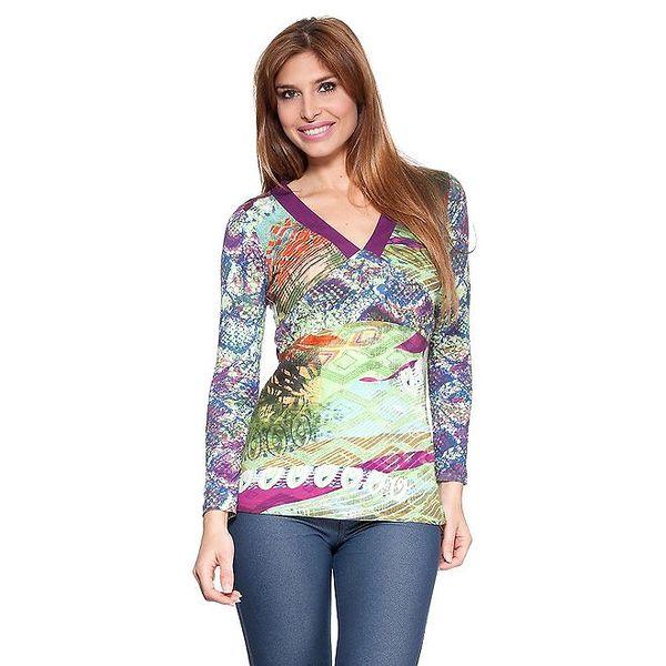 Dámské barevné tričko s fialovými lemy Janis