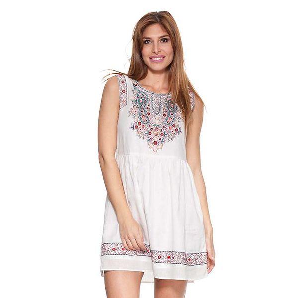 Dámské bílé šaty s barevnou výšivkou Kool