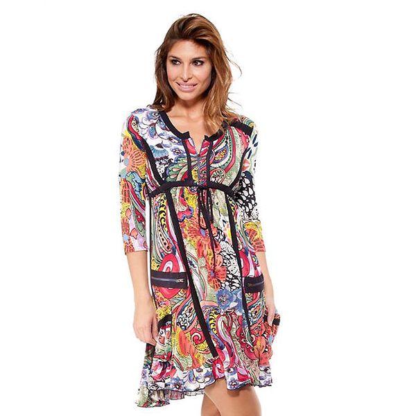 Dámské barevné šaty s černými lemy Janis
