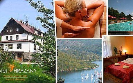 3 denní wellness pobyt v Hotelu Hrazany u Slapské přehrady v komfortních apartmánech s polopenzí, lahví vína, masáží a vstupem do luxusního Wellness clubu (vířivka, parní sauna, infrasauna)!! Široká škála sportovního i turistického vyžití!!