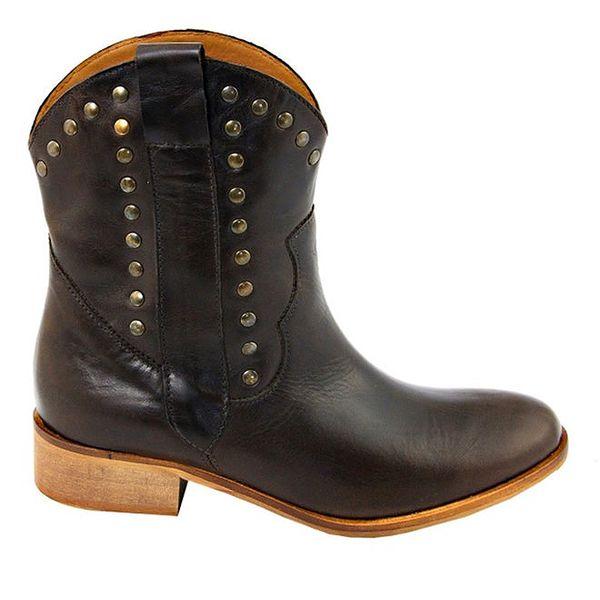 Dámské tmavě hnědé kovbojské boty s cvočky Eye