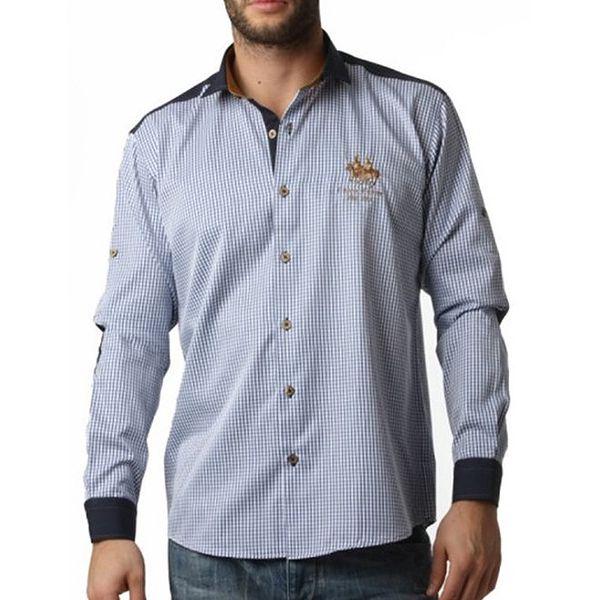 Pánská modře kostičkovaná košile Frank Ferry
