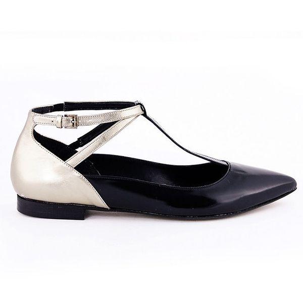 Dámské černé boty s pásky a lesklou patou Eye