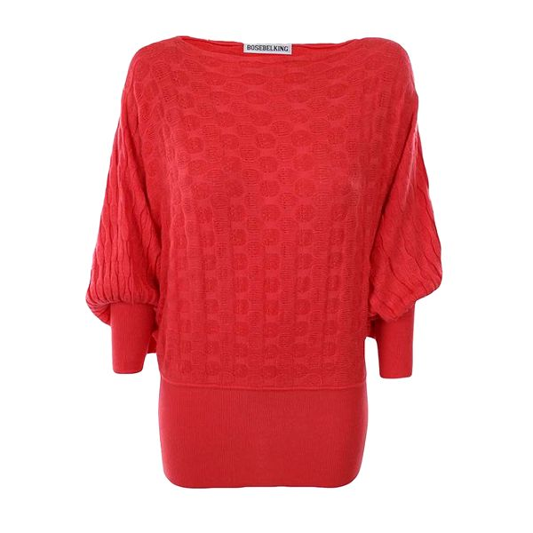 Dámský červený dlouhý svetr Bosebelking fashion