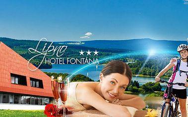 Nabitý relaxační pobyt v hotelu Fontána*** na břehu Lipenské přehrady! 3 DNY pro DVA včetně POLOPENZE, SEKTU, MASÁŽE, neomezeného BAZÉNU, SAUNY, FITNESS a dalšího od 2222 Kč! Užijte si relax uprostřed krásné přírody!