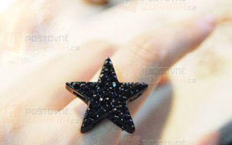 Černý prsten s hvězdou a poštovné ZDARMA! - 11409459