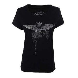 Dámské černé tričko s motivem orla Aeronautica Militare