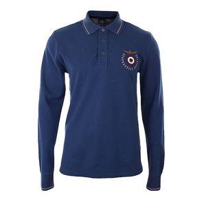 Pánské modré polo tričko s dlouhým rukávem Aeronautica Militare