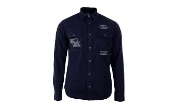 Pánská indigová košile s výšivkami Aeronautica Militare