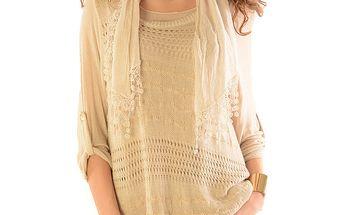 Dámský béžový svetr s topem a šátkem Silvana Cirri