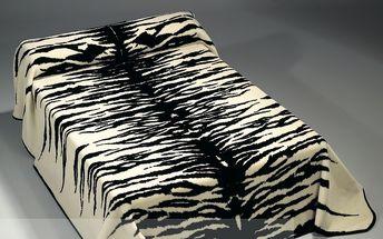 Španělská deka Piel TYGR 160x220 ČERNO-BÍLÁ