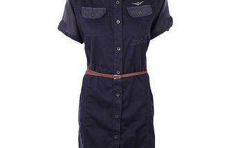 Dámské modré košilové šaty s páskem Aeronautica Militare