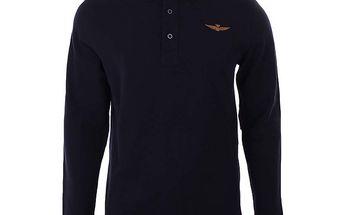 Pánské tmavé polo triko s dlouhými rukávy Aeronautica Militare