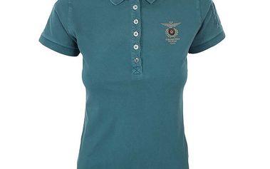 Dámské tyrkysové polo tričko s výšivkou Aeronautica Militare