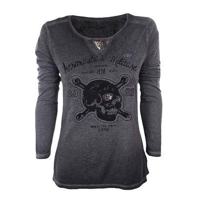 Dámské tmavě šedé tričko s dlouhým rukávem a lebkou Aeronautica Militare