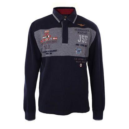 Pánské modré polo triko s šedivým pruhem Aeronautica Militare