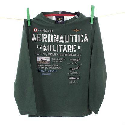 Dětské tmavě zelené tričko s dlouhým rukávem Aeronautica Militare
