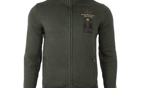 Pánský khaki svetr s rolákem a kapucí Aeronautica Militare