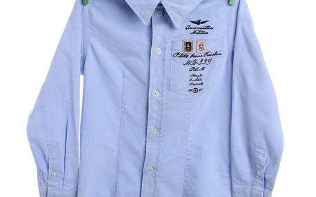 Dětská blankytně modrá košile Aeronautica Militare