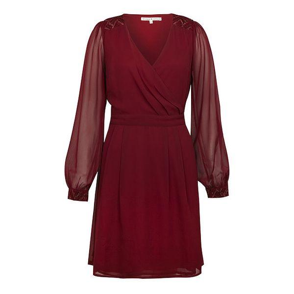 Dámské vínové večerní šaty s flitry Uttam Boutique