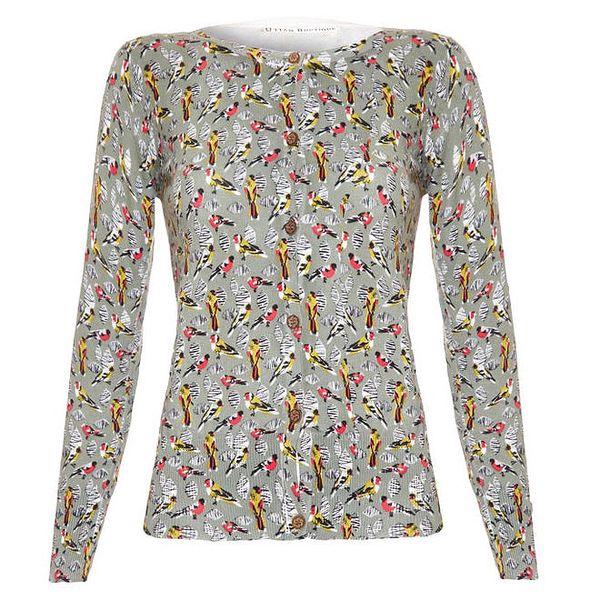 Dámský propínací šedozelený svetr s ptáčky Uttam Boutique