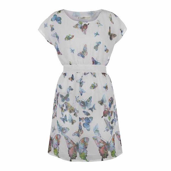 Dámské krémově bílé šaty s motýlky Uttam Boutique