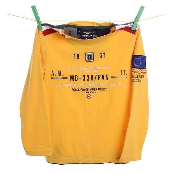 Dětské žluté tričko s nápisem Aeronautica Militare